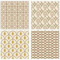 A set of vintage art deco square frames in nostalgic colors with simple geometric patterns for design Stock Image