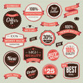 Set vintage badges ribbons sale Stock Image