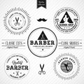 Set of vintage barber shop eps compatibility required Stock Photos