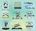 Set of vintage barber shop logo, labels and design element. Royalty Free Stock Photo