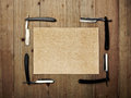 Set of vintage barber shop tools and kraft paper