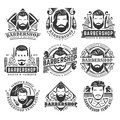12 set of vintage Barbershop logo template collection, retro style pack,
