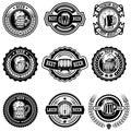 Set of vintage beer labels. Design elements for logo, label, emblem, sign, menu.