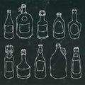 Set of Vintage Beer and Vine Bottles. on a Black Chalkboard Background. Realistic Doodle Cartoon Style Hand