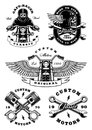 Set of 5 vintage biker illustrations on white background_2 Royalty Free Stock Photo