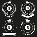 Set of vintage billiard club badge and label with ball emblem sport team event vector icons isolated on background Stock Photo