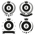 Set of vintage billiard club badge and label with ball emblem sport team event vector icons isolated on background Royalty Free Stock Photos