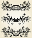 Set of vintage black floral borders Stock Photo