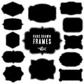 Set of vintage blank frames and labels. Hand drawn vector Royalty Free Stock Photo