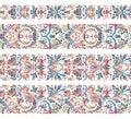Set of vintage border brushes templates. Baroque floral elements for frames design and page decorations.