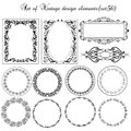 Set of vintage borders and design elements decorative ornamental Royalty Free Stock Image