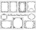 Set of vintage borders and design elements decorative ornamental Royalty Free Stock Images