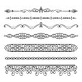 Set of vintage borders and flourishes on white Royalty Free Stock Photo