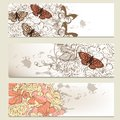 Set of vintage business banners with flowers floral for design Royalty Free Stock Photo