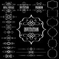 Set of vintage calligraphic design elements and pa vector page decor isolated on black background fully editable customizable Royalty Free Stock Images
