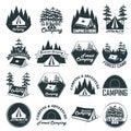 Set of vintage camping emblems, logos and badges