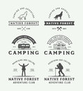 Set of vintage camping outdoor and adventure logos, badges Royalty Free Stock Photo