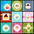 Set of vintage card with cupcakes Royalty Free Stock Images