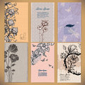 set of vintage cards with flowers backgrounds Royalty Free Stock Photo