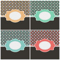 Set of vintage cards with labels in different color variations vector illustration Stock Images