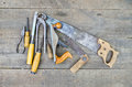 Set of vintage carpenter tools on wooden floor Royalty Free Stock Image