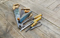 Set of vintage carpenter tools Royalty Free Stock Photo