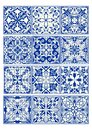 Set of vintage ceramic tiles in azulejo design with blue patterns on white background Royalty Free Stock Photo