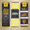 Set of vintage chalk drawing fast food menu banners. Sandwich