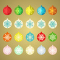 Set of vintage christmas balls colorful Royalty Free Stock Image