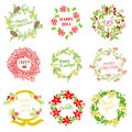 Set of vintage christmas and new year wreath for design scrapbook in Royalty Free Stock Photos