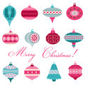 Set of vintage christmas tree balls for design and scrapbook in Stock Photos