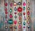 Set of vintage Christmas tree decoration on wooden retro grunge background Royalty Free Stock Photo