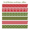 Set of vintage christmas washi tapes ribbons elements cute design patterns Royalty Free Stock Photography