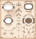 Set of Vintage Decorations Elements. Baroque Ornaments and Frame