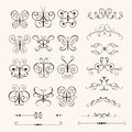 Set of vintage decorative butterflies Royalty Free Stock Photo
