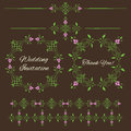 Set of vintage decorative  floral design elements Stock Image