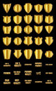 Set of  vintage design elements-golden shields and gold advertis Royalty Free Stock Photo