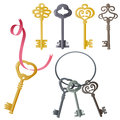 Set of vintage door keys vector illustration Stock Photos