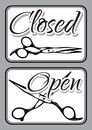 Set of vintage door signs for barber shop with scissors Royalty Free Stock Photo