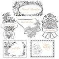 Set of vintage floral borders and design elements decorative ornamental Stock Images