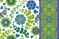 Set of vintage floral seamless pattern and border. Vector background with fantasy flowers end leaves. Royalty Free Stock Photo