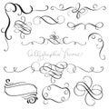 Set of vintage flourish decorative art calligraphy whorls for design. Vector illustration EPS10 Royalty Free Stock Photo