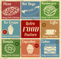 Set of vintage food posters or labels with place for price on retro style vector illustration Royalty Free Stock Image