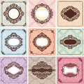 Set vintage frames great invitations greeting cards Royalty Free Stock Image
