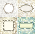 Set of vintage frames for seamless background Stock Photos