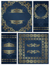 Set of vintage frames seamless damask background gold decoration luxury design Stock Photo