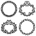 Set of vintage frames of swirls and decorative leaves isolated o