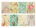 Set of vintage french floral shabby floral chic walloper background samples antique wallpaper distressed Stock Photography