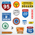 Set of vintage gasoline retro signs and labels Stock Photography