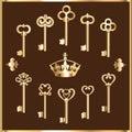 Set of vintage gold keys